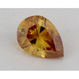 0.49 Carat, Natural Fancy Deep Orange -Yellow, Pear Shape, SI1 Clarity, GIA