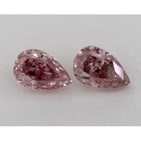 1.05 Carat, Pair of Natural Fancy Intense Pink, Pear Shape, SI2 Clarity, GIA