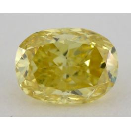 0.65 Carat, Natural Fancy Vivid Yellow, Cushion Shape, I1 Clarity, GIA