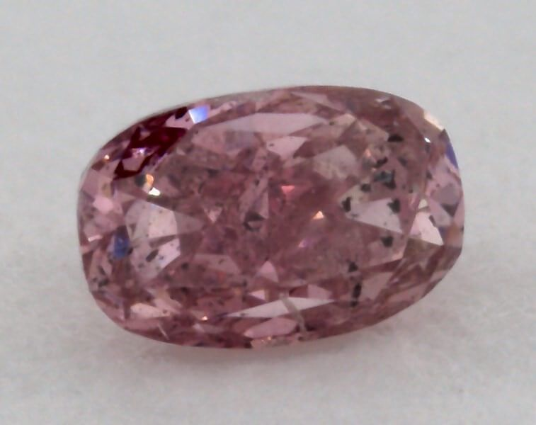0.09 Carat, Natural Fancy Intense Purplish Pink, Cushion Shape, I1 Clarity, GIA