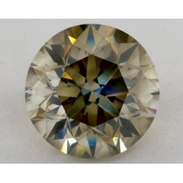 3.51 carat, Natural Fancy Greenish Yellow-Gray, Round, I1 Clarity, GIA