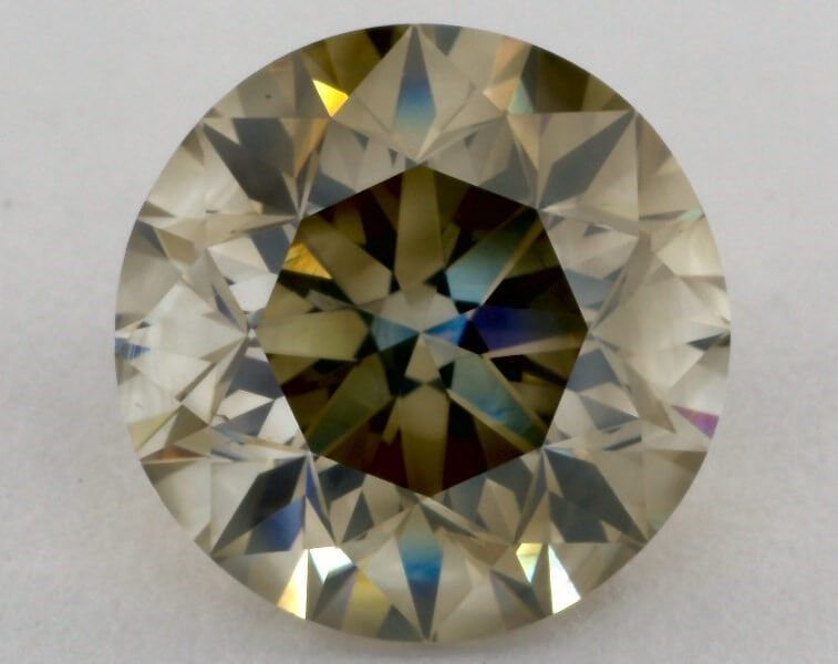 3.51 carat, Natural Fancy Greenish Yellow-Gray, Round, I1, GIA