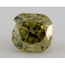 0.74 Carat, Natural Fancy Deep Brownish Greenish Yellow Chameleon, Csshion Shape, VS2 Clarity, GIA