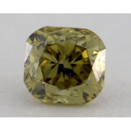 0.74 Carat, Natural Fancy Deep Brownish Greenish Yellow Chameleon, Csshion Shape, VS2 Clarity, GIA
