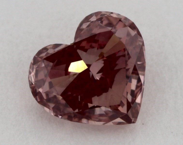 0.53 Carat, Natural Fancy Deep Pink, Heart Shape, VS1 Clarity, GIA