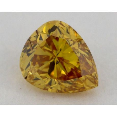 0.60 Carat, Natural Fancy Deep Brownish Orangy Yellow, Pear Shape, SI1 Clarity, GIA
