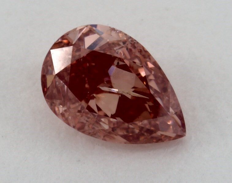 0.58 Carat, Natural Fancy Deep Pink, Pear Shape, I2 Clarity, GIA