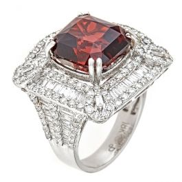 11.77 carat Rubulite ring with 2.75 carat Round Diamonds and 9.10gr. 18K Gold