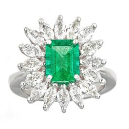 1.95 carat Emerald ring with 1.96 carat Radiant Diamond and 9.70gr. 18K Gold