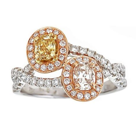 1.33 carat, Ring with Light Pink and Yellow-Orange Diamond, 4.90gr. 18K Gold