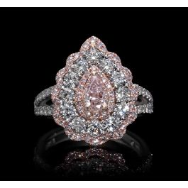 Ring with 0.53ct Fancy Brownish Pink diamond and 1.54ct small white & pink diam