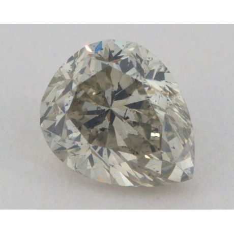 0.77 Carat, Natural Fancy Greenish Yellow - Gray, Pear Shape, I1 Clarity, GIA