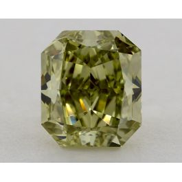 2.21 carat, Natural Fancy Deep Green-Yellow, VS2 Clarity, Radiant Shape, GIA