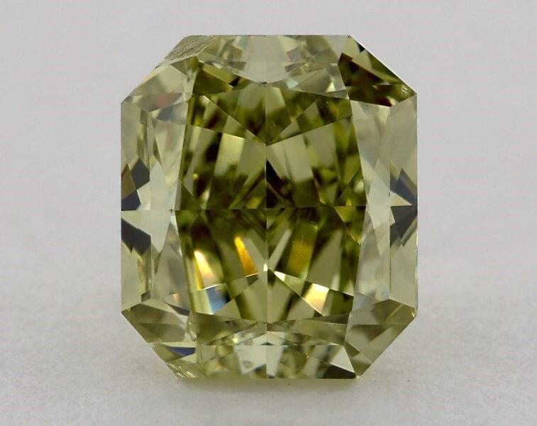2.21 carat, Natural Fancy Deep Green-Yellow, VS2 Clarity, Radiant Shape, GIA
