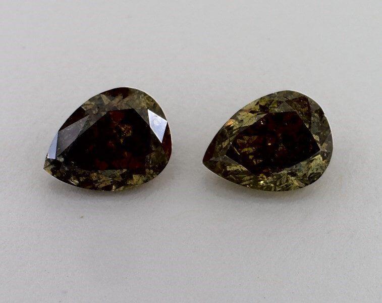 Pair of Fancy Dark Brownish-Greenish Yellow, 2.01 &2.03 Carats, Chameleon, GIA