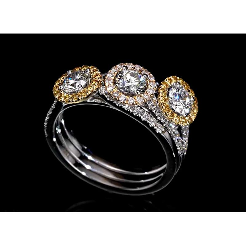 0 53 Ct Diamond Ring W Pink Or Yellow Diamonds G Color