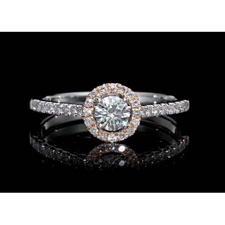0.53 carat Diamond Ring, with Pink or Yellow Diamonds, G Color, SI2 Clarity
