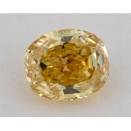 0.41 Carat, Natural Fancy Intense Orangy Yellow, Oval Shape, SI2 Clarity, GIA