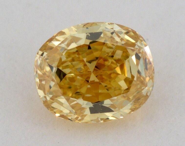 0.41 Carat, Natural Fancy Intense Orange Yellow, Oval Shape, SI2 CLarity, GIA