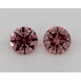 Pair of 0.13 Carat each, Fancy Intense Pink, Round, GIA