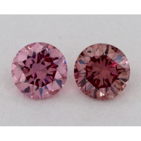 Pair of 0.11 Carat each, Fancy Intense Pink, Round, GIA