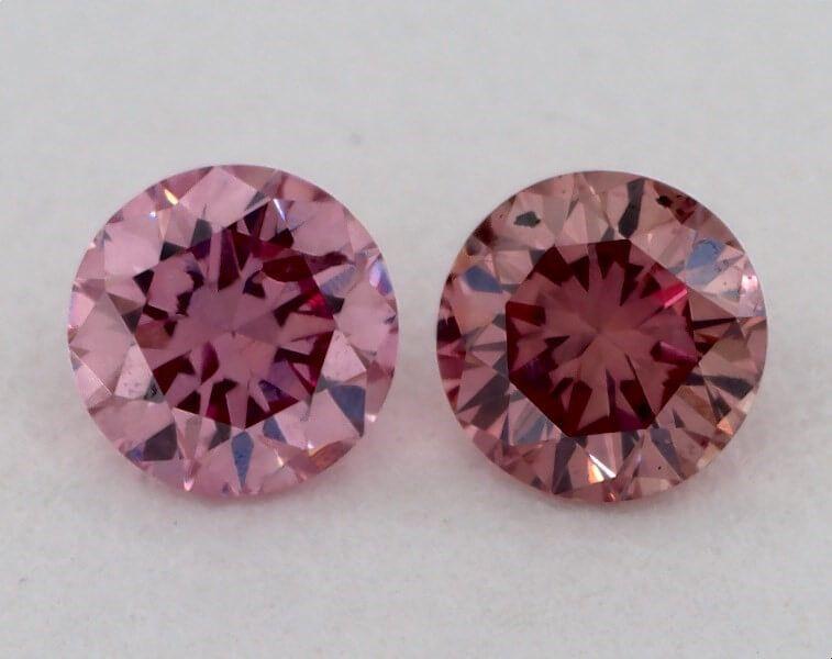 Pair of 0.11 Carat each, Fancy Intense Pink, Round, GIA