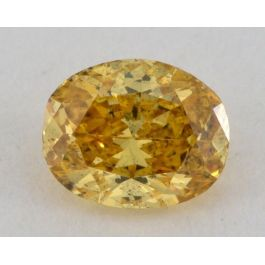0.37 Carat, Natural Fancy Intense Orangy Yellow, Oval Shape, I2 Clarity, GIA