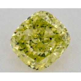 0.94 Carat, Fancy Intense Greenish Yellow, Cushion, SI2 Clarity, GIA