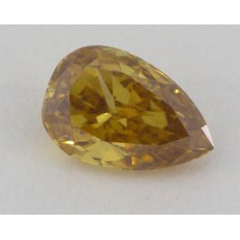 0.59 Carat, Natural Fancy Deep Brownish Orangy Yellow, Pear Shape, I1 Clarity, GIA