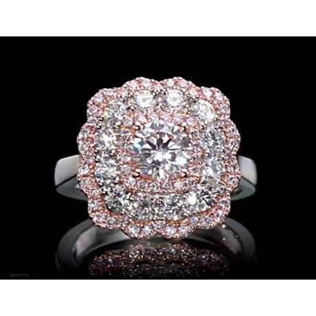 0.98 carat, Ring with Round Faint Pink Diamond, GIA