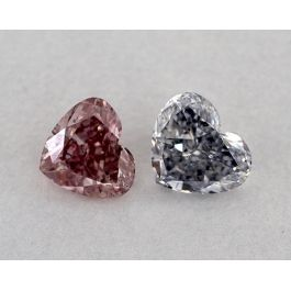 Pair of 0.99 Carat, Fancy Blue and Fancy Intense Pink, Hear shape, GIA