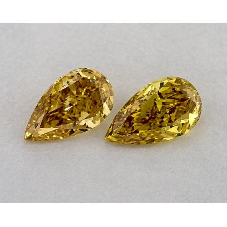 2.13 Carat, Pair of Fancy Deep and Intense Yellow, Pear shape, SI2 Clarity, GIA