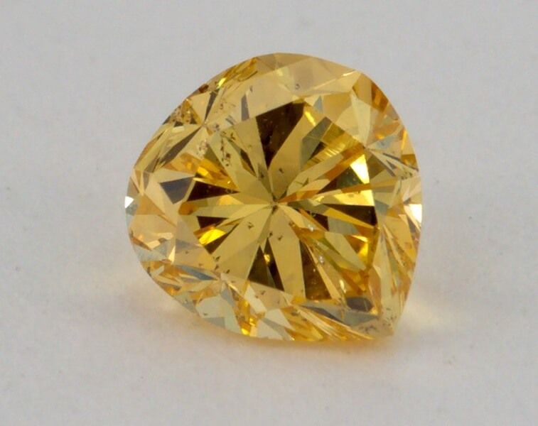 0.59 Carat, Natural Fancy Intense Orangy Yellow, Pear Shape, I1 Clarity, GIA, W0070