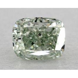 0.55 Carat. Fancy Green, Cushion, SI1 Clarity, GIA