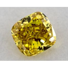 1.03 Carat, Natural Fancy Vivid Yellow, Cushion Shape, VS1 Clarity, GIA