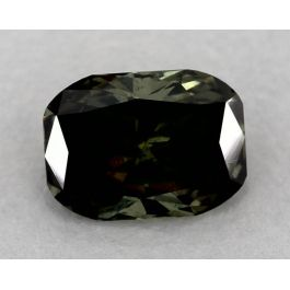 1.08 Carat, Natural Fancy Dark Gray-Yellowish Green, Cushion Shape, SI clarity, GIA
