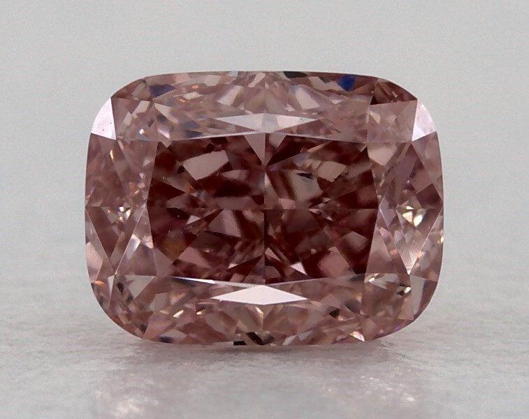 0.51 Carat, Natural Fancy Intense Pink, Cushion Shape, VS1 Clarity, GIA