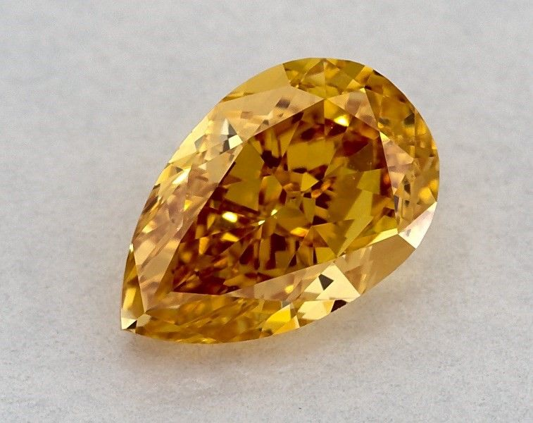 0.58 Carat, Natural Fancy Vivid Yellow-Orange, Pear Shape, SI1 Clarity, GIA