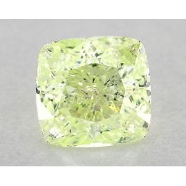 2.30 Carat, Natural Fancy Intense Yellow-Green, Cushion Shape, I1 Clarity, GIA