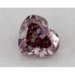 0.65 Carat, Natural Fancy Intense Purplish Pink, Heart Shape, I1 Clarity, GIA