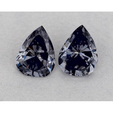 Pair of 0.58 Carat, Natural Fancy Gray- Violet, Pear Shape, VS2 and SI1 Clarity, GIA