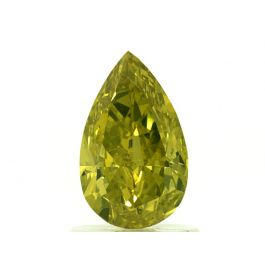 1.10 Carat, Natural Fancy Vivid Green-Yellow, Pear Shape, SI2 Clarity, GIA
