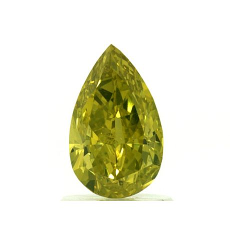 1.10 Carat, Natural Fancy Vivid Green-Yellow, Pear Shape, SI2 Clarity, GIA