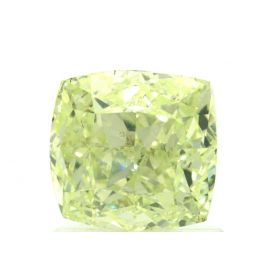 1.51 Carat, Natural Fancy Yellow-Green, Cushion Shape, SI1 Clarity, GIA