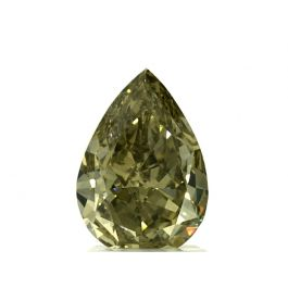 2.00 Carat, Natural Fancy Deep Greenish Yellow, Pear Shape, VS2 Clarity, GIA