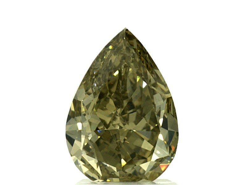 2.00 Carat, Natural Fancy Deep Greenish Yellow, Pear Shape, VS2 Clarity, GIA