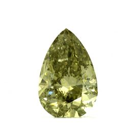 2.02 Carat, Natural Fancy Deep Greenish Yellow, Pear Shape, SI2 Clarity, GIA