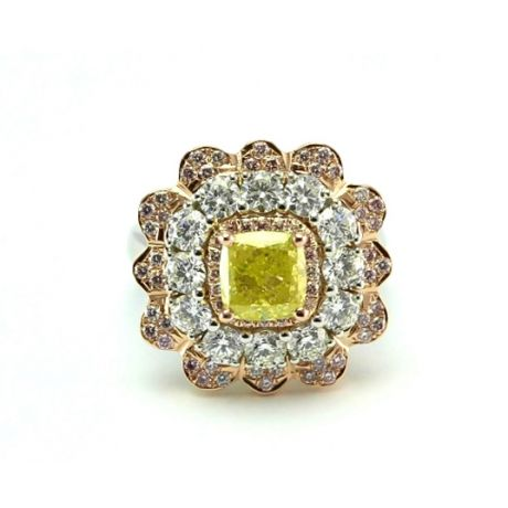 Ring with 1.54ct. Fancy Intense Greenish Yellow and 1.91ct. white and pink diamonds