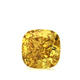 0.61 Carat, Natural Fancy Vivid Yellow-Orange, Cushion Shape, VVS2 Clarity, GIA