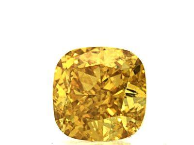 0.61 Carat, Natural Fancy Vivid Yellow-Orange, Cushion Shape, VVS2 Clarity, GIA